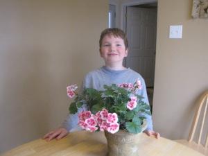 Alasdair & pink geranium