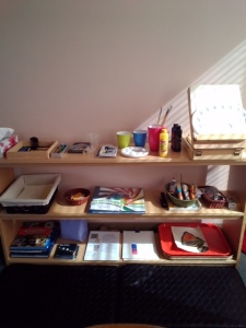 Work shelves in the Godly Play Room