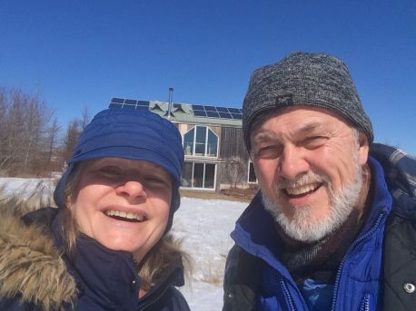 Margaret and Eric enjoy a snowy day outside
